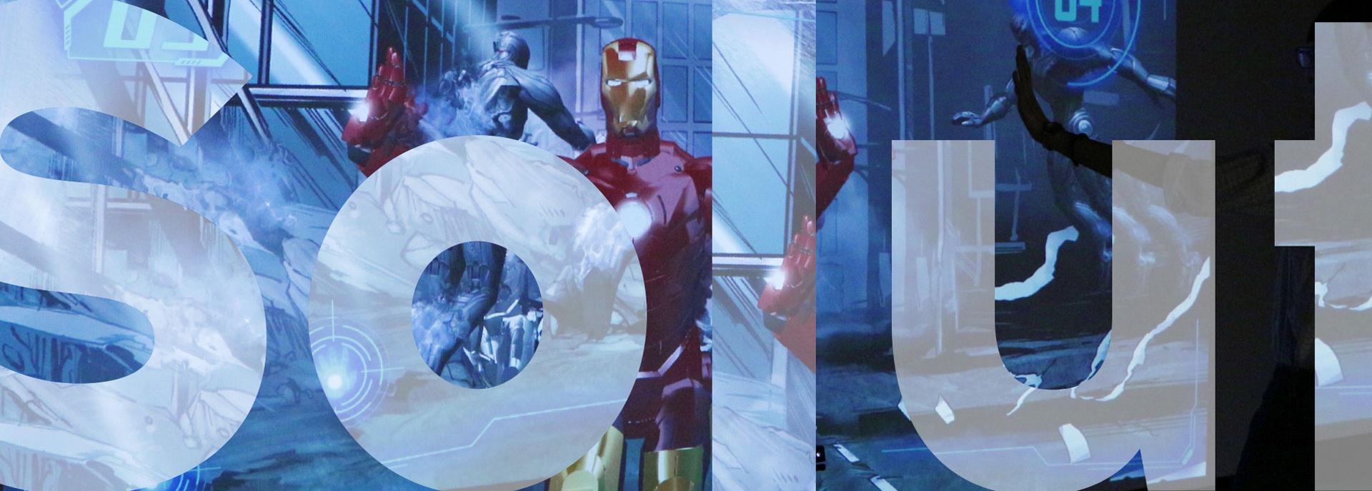 为香港3D体验馆设计一款运用投影触屏技术制作的3D体感互动游戏-钢铁侠